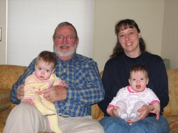 Janet and the girls with Grandpa Hucker