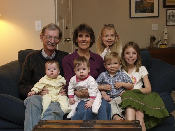 Papa & Nana with all the grandkids